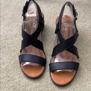 Sugar Black Vegan Leather Sandals Block Heel 8M